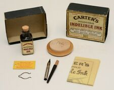 Carter's Household Indelible Ink Fabric Fountain Pen set in Box #481 Antique Vtg