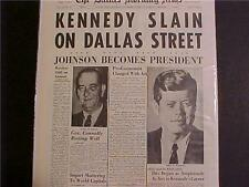 VINTAGE NEWSPAPER HEADLINE ~JOHNSON PRESIDENT JFK KENNEDY DEAD KILLED SHOT DIES~