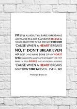 The Script - Breakeven - Song Lyric Art Poster - A4 Size