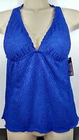 Blue Crochet Halter Tankini  swim bathing suit wear removable cup Mossimo Small