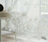 Curtains Panels Window Screens Bedroom Living Rooms Lace Voile Embroidered Sheer