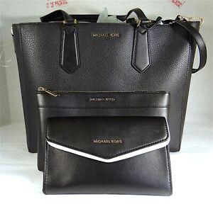 Michael Kors Kimberly Black Leather Large 3-in-1 Tote, Shoulder Bag