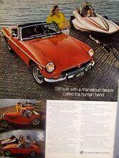 """1973 MGB MG TC Speed Boat Original Print Ad 9 x 11"""""""