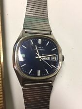 Timex Mens Mechanical Automatic Calendar Day Date Wristwatch Watch Blue Dial