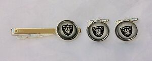 Las Vegas Raiders Cufflinks & Tie Clip Recycled from Football Card, Gift for Men