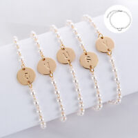 Bracelet 26 Charm Bangle Letters Pearl Initial Jewelry Hot Love Cuff Women Knot