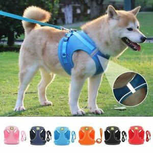 Dog Harness with Leash Pet Adjustable Reflective Vest Outdoor Lead for Puppy Cat