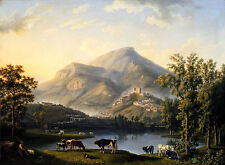 Veduta d Itri, Landscape with a View of Itri Jakob Hackert Italien B A3 02367