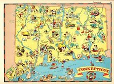 1938 RARE Antique CONNECTICUT State Map Ruth Taylor Picture Map RTW 6089