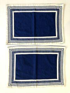 2 Pier 1 Placemats Blue White Stripe Oxford 12x18