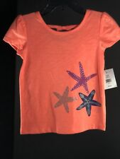 Baby Clothes Girls Crown & Ivy Kids Color Orange 3 Star Fish Size 2T T-Shirt NEW