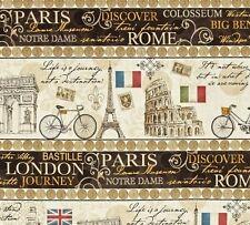 A TICKET IN HAND~ Paris~Rome~ London~Travel Scenes~Big Ben~Stripe~Fabric~1/2 yd