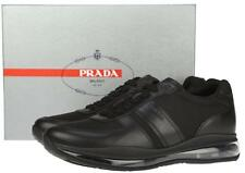 NEW PRADA MEN'S BLACK LEATHER TECHNO LEVITATE SOLE CURRENT SNEAKERS SHOES 10