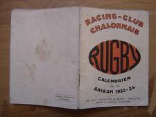 saison 1933 PROGRAMME Calendrier Rugby CHALON sur SAONE 1934 sport
