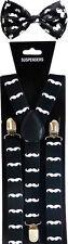 Mustache SUSPENDERS and BOW TIE COMBO SET Unisex Adjustable Suspender Bowtie