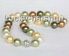 """17"""" 14mm round green yellow coffee south sea shell pearls necklace j11049"""