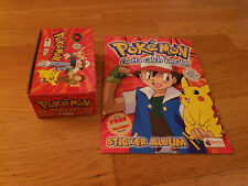 Merlin Topps POKEMON 1999 red sticker box display + mint empty album 100 packets