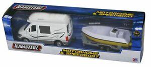 Teamsterz Motorhome White Speed Boat Model Play Set Camper Van Trailer Kids Toy