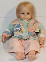 "Original 23"" Brigitte Leman Resin Baby Doll 2001 With Knitted Sweater"