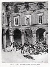 Napoli: incendio di Palazzo Gravina, 15 giugno 1848. Matania.+ Passepartout.1889