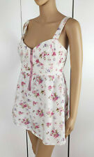 INFLUENCE Pink Floral Zip Front Strappy Bustier Shabby Chic Cami Top Blouse S