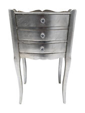 3 Drawer Bedside Chest Cabinet Silver Bedroom French Furniture Shabby Chic