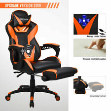 Gaming Racing Massage Office Chair Swivel Computer Recliner PU Leather Footrest5