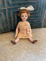 "Antique All Bisque 5.25"" Bruno Schmidt German Flapper Doll Glass Eyes"