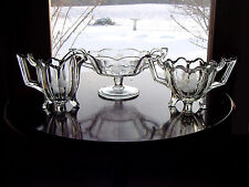 AnTiQuE ETCHeD~CuT~ArT DeCo PaNeLeD Glass Sugar Bowl~Creamer~Jelly Compote Dish