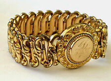 Antique Victorian Minerva Sweetheart Expansion Bracelet Monogram Gold Filled