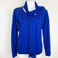Carolyn Taylor Blue  Embellished Women Sweater. Size Large. NWT.
