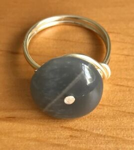 Handmade Silver Plated Copper Wire Size M Ring with Grey Moonstone Disk Bead