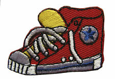 """#3109Br Lot 2Pcs 1-1/4"""" Embroidery Iron On Red Sneaker Applique Patch"""