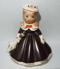 Vintage Petite Girl Figurine w/ umbrella Woolworth Five Dime label