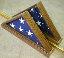 5 X 9 VET OAK DOUBLE VIEW FLAG DISPLAY CASE BOX AMERICAN MILITARY FUNERAL USA