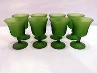 "8 Vintage Indiana Glass Frosted Satin Green Glass Harvest Grape 5 1/4"" Goblet"