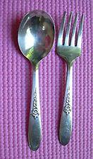 Fantasy Childs Fork Spoon Set Oneida Tudor Plate Community Baby Flower Rose