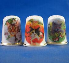 Birchcroft Thimbles -- Set of Three -- Cats in Flower Garden