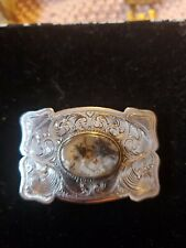 New Listingvintage Sterling Silver Belt buckle western Americana w/Beautiful Agate