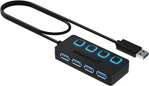 Sabrent USB HUB - 4-Port -USB 3.0 Hub mit einzelnen Power Schalter und LEDs (HB-