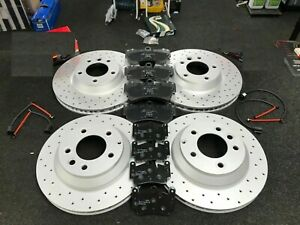 PERFORMANCE FRONT REAR DRILLED BRAKE DISCS AND FRONT REAR BRAKE PADS SET
