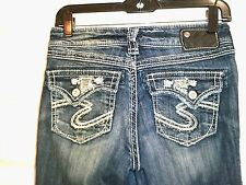 EUC!  SILVER JEANS CO women's Suki Flap 17' denim sequins rhinestones 26 x 33