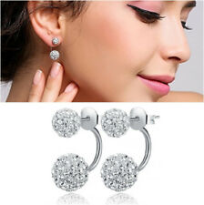 925 Sterling Silver Plated Earrings Stud Studs Silver Drop Dangle Double Crystal