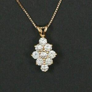 1.00 Ct Round Cut D/VVS1 Diamond Cluster Pendant Necklace 14K Yellow Gold Finish