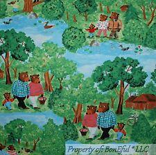 BonEful Fabric Cotton Quilt Green Little BEAR Tree House Baby Boy Cabin FQ SCRAP