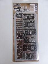 *BRAND NEW* TIM HOLTZ Stamp & Stencil Set 'INSPIRATIONAL' (Words)