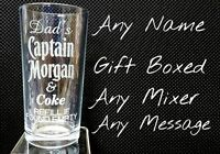 PERSONALISED ENGRAVED CAPTAIN MORGAN GLASS RUM & COKE GLASS uncle birthday gift