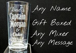 PERSONALISED ENGRAVED CAPTAIN MORGAN GLASS RUM & COKE GLASS GIFT BOXED rum glass