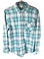 Aeropostale Mens Button Up Long Sleeve Shirt Medium Green Blue White Plaid M