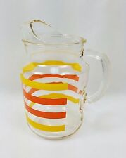 Vintage Yellow & Orange Striped Pitcher Indiana Glass style with Ice Lip